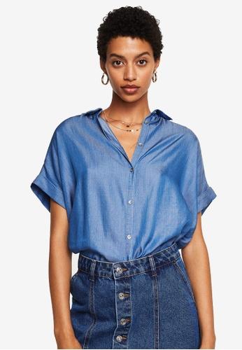 Mango blue Soft Fabric Shirt 4E8FBAA146EC46GS_1