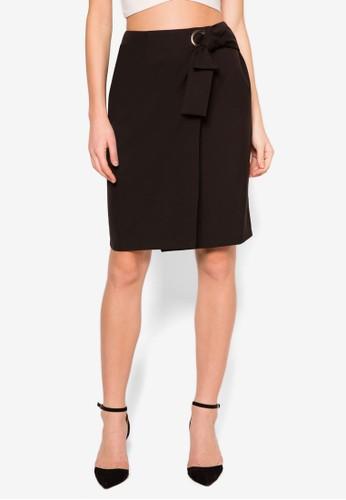 裹式繫帶及zalora taiwan 時尚購物網膝裙, 服飾, 裙子