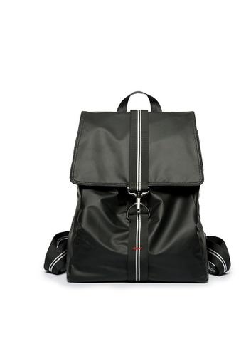 Lara black Men's Flap Buckle Backpack - Black 8D08EACE123366GS_1