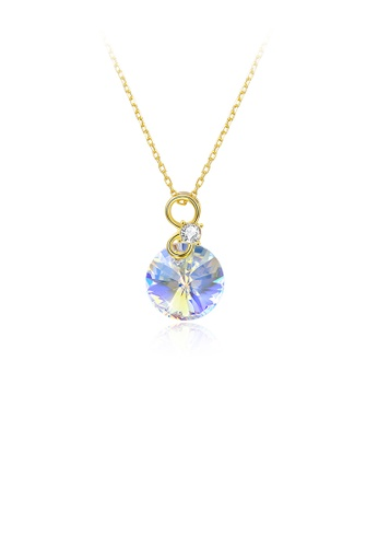 Glamorousky white 925 Sterling Silver Plated Gold Simple and Fashion Round Pendant with Austrian Element Crystals and Necklaces 64016ACF6BC54FGS_1