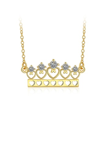 Glamorousky white Elegant Plated Gold Heart-shaped Crown Cubic Zircon Necklace A06B3ACEEFBC92GS_1