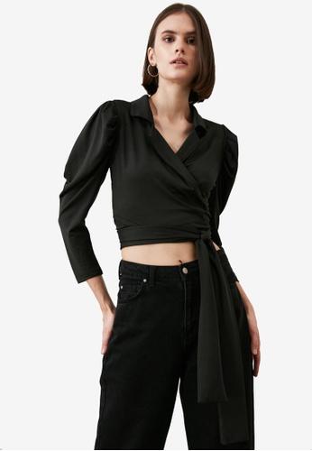 Trendyol black Puffed Sleeve Tie Waist Wrap Blouse 6D8B7AA2F03043GS_1