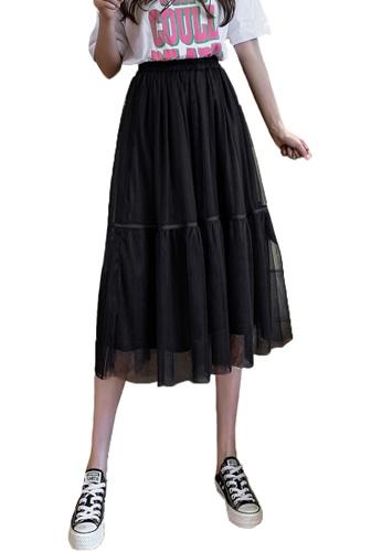 Halo black Layered Net Yarn Midi Skirt F4DE0AA8EF1A6CGS_1