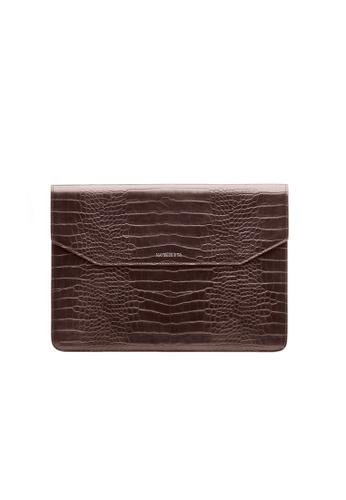 Maverick & Co. brown Maverick & Co. Sirius Croc-Embossed MacBook Sleeve (Cocoa Brown) BCF51AC2F6EC46GS_1