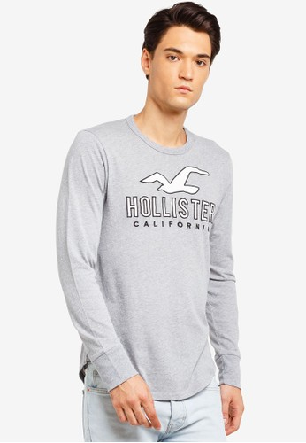 Hollister grey Long Sleeve Tech Logo T-Shirt 17987AA2D16579GS_1