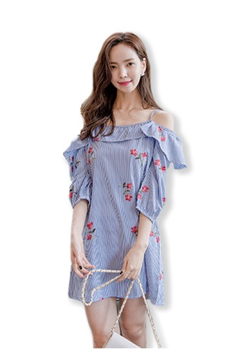 Sunnydaysweety blue 2017 Fall New Printing Pattern Off Shoulder One Piece Dress UA090809 SU219AA0FTLBSG_1
