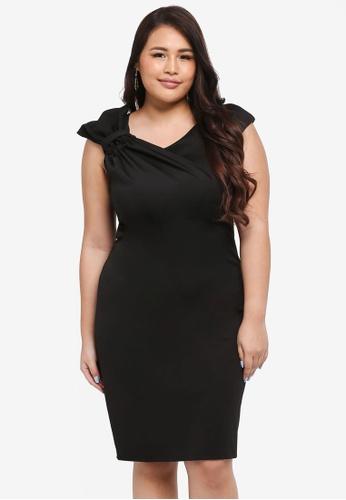 Goddiva black Plus Size Gathered Shoulder Midi Dress 6A483AAE59BC4AGS_1