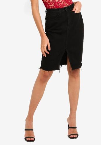 MISSGUIDED black Raw Hem Denim Midi Skirt F7C7DAAA22D15EGS_1