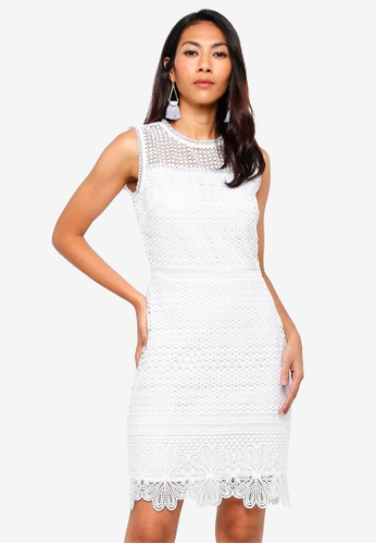 WAREHOUSE white Int Circle Broderie Lace Dress 0E2C0AA6ECF029GS_1