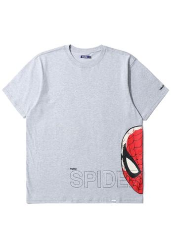 BLOCKAIT grey X Marvel Spiderman graphic tee D0233AAD09BC7EGS_1