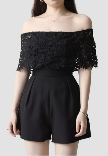 Miss M black Embroidered Lace Jumpshort Romper 51662AA1F3CE26GS_1