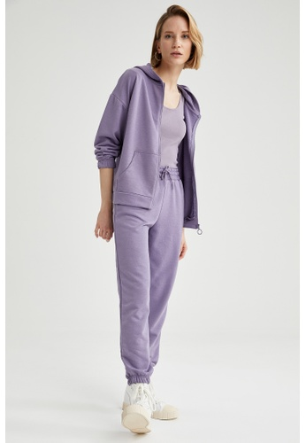 DeFacto purple High Waist Relax Fit Sweatpants 9025FAA4CEEA79GS_1