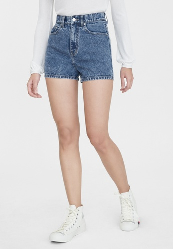 Pomelo blue Water Neutral Denim Fitted Shorts - Light Blue 263FBAAC116517GS_1