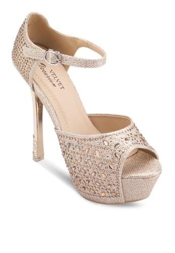 閃飾露趾厚底高跟鞋, 女鞋,esprit taiwan 厚底鞋