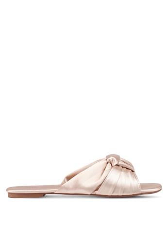 Nose 米褐色 Satin Criss Cross Bow Slide On Sandals A8261SHBD421FAGS_1