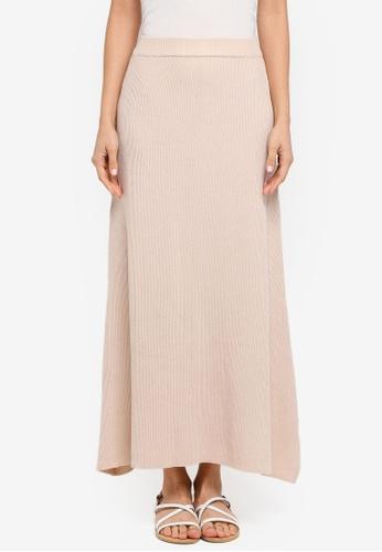 Zalia beige Knitted Rib Skirts B7407AA9B09AC9GS_1