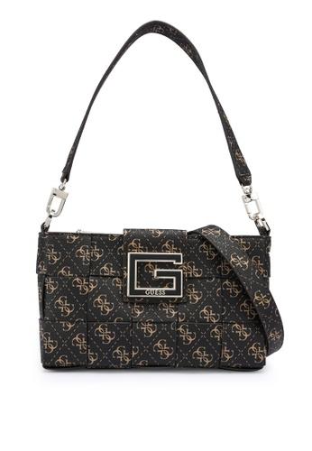 Guess brown Liberty City Top Zip Shoulder Bag 8F8D9AC5961DF4GS_1