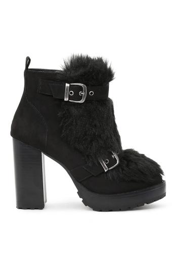 London Rag black London Rag Women's Black Fur Booties SH1526 7388CSH56D3D0CGS_1