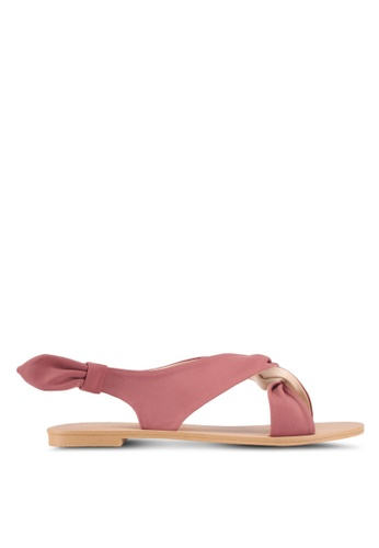 ZALORA pink Side Knot Detail Sandals CF4A6SH6A59EC0GS_1