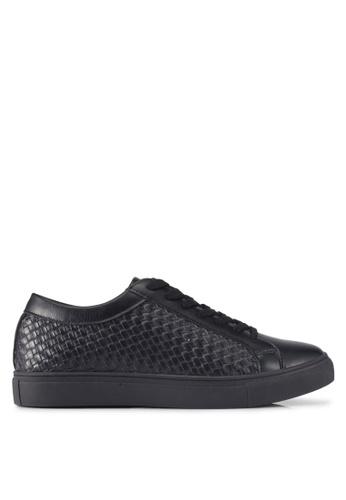 ZALORA black Weaved Embossed Detail Sneakers 0C37ESH788F370GS_1