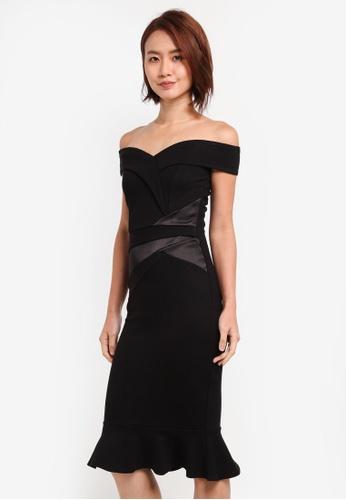 Lipsy black Black Satin Panel Flute Hem Bardot Dress 19A36AAF594C7BGS_1