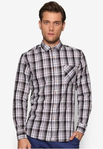 修身esprit outlet台北格紋長袖襯衫, 服飾, 襯衫