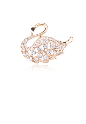 Glamorousky white Fashion and Elegant Plated Gold Swan Brooch with Cubic Zirconia B0702ACC5149AEGS_1