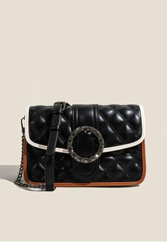 Lara black Women's Rhombic Embossed Leather Magnetic Buckle Chain Bag - Black 2120DAC0DF58C3GS_1