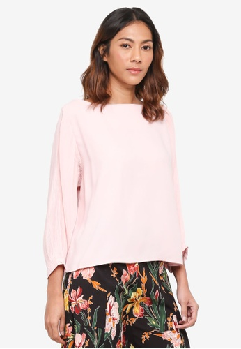bYSI pink Bishop Textured Sleeves Blouse ABC26AA99D6627GS_1