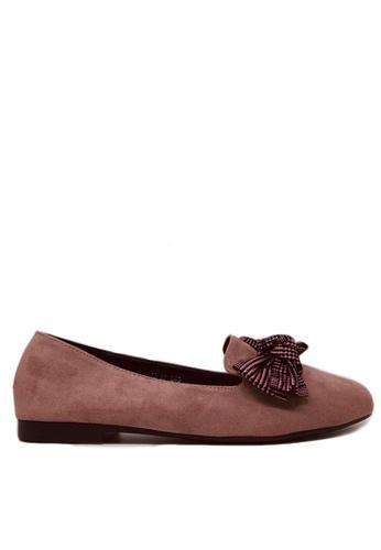 Twenty Eight Shoes 粉紅色 蝴蝶結仿猄皮Loafers 1140-87 FE53CSH7B2AA3BGS_1