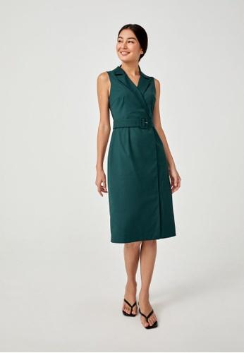 Love, Bonito green Briene Tailored Belted Midi Dress 509ACAA3697F5DGS_1