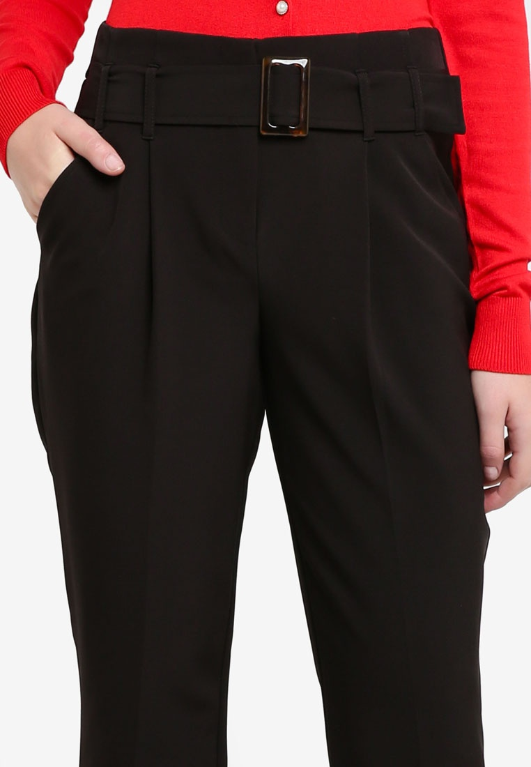 Black Buckle Tapered Dorothy Trousers Black Perkins qZgSwxU8C