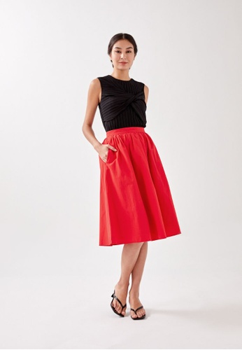 Love, Bonito red Callia Ruched Midi Skirt 2821FAAFF5B653GS_1
