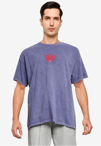 Topman purple Purple Nashville Embroidered T-Shirt 6CAA1AAFCAF83BGS_1