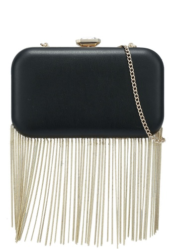 Forever New black Frederica Chain Fringe Clutch 09B4DACA6E0E44GS_1