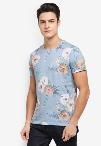Burton Menswear London green Mint All-Over Hibiscus Floral T-Shirt 1DBF4AA158B33AGS_1