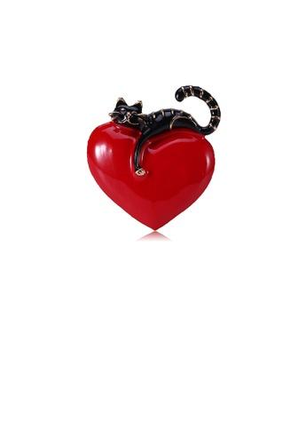 Glamorousky silver Fashion Cute Black Cat Heart-shaped Brooch 573BFAC1906FF5GS_1