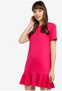 b0e55b68eca Something Borrowed pink Short Sleeves Flutter Hem Dress 7F85AAA96F2D4BGS_1