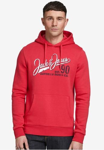Jack & Jones red Logo Sweat Hoodie ADF74AA6073D18GS_1