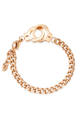 YOUNIQ YOUNIQ Handcuffs Locks Together 18K Rosegold Steel Chain Link Bracelet for Women 4E0E6AC4BB0511GS_1