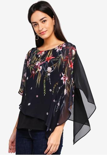 Wallis black Black Floral Layered Top 2DB16AA5C2E861GS_1