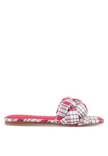 Mango 紅色 格紋扭結拖鞋 D0082SH13231F5GS_1