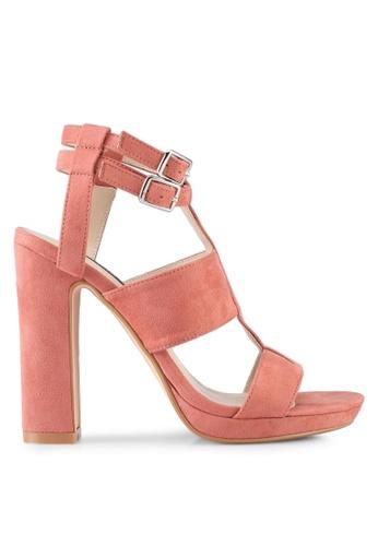 ZALORA 粉紅色 Strappy Block Heels CF97BSH1221C3BGS_1