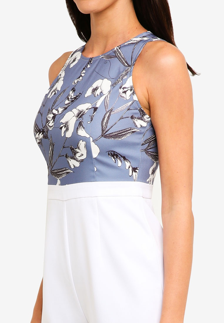 Jumpsuit White ZALORA Off Floral Top Printed Grey RxxgwEPq
