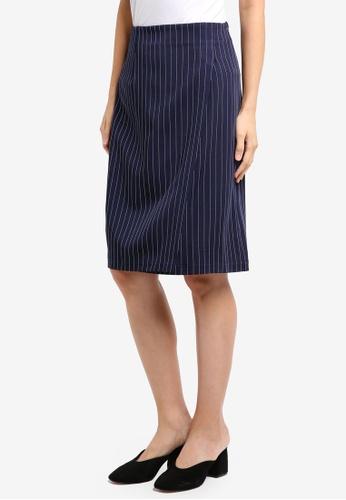 ZALORA navy Pin Stripe Skirt 31D43AAAD11E85GS_1