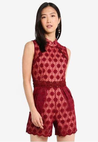 Megane red Red Romance Edmee Mandarin Collar Romper 86280AAC5FA2EAGS_1
