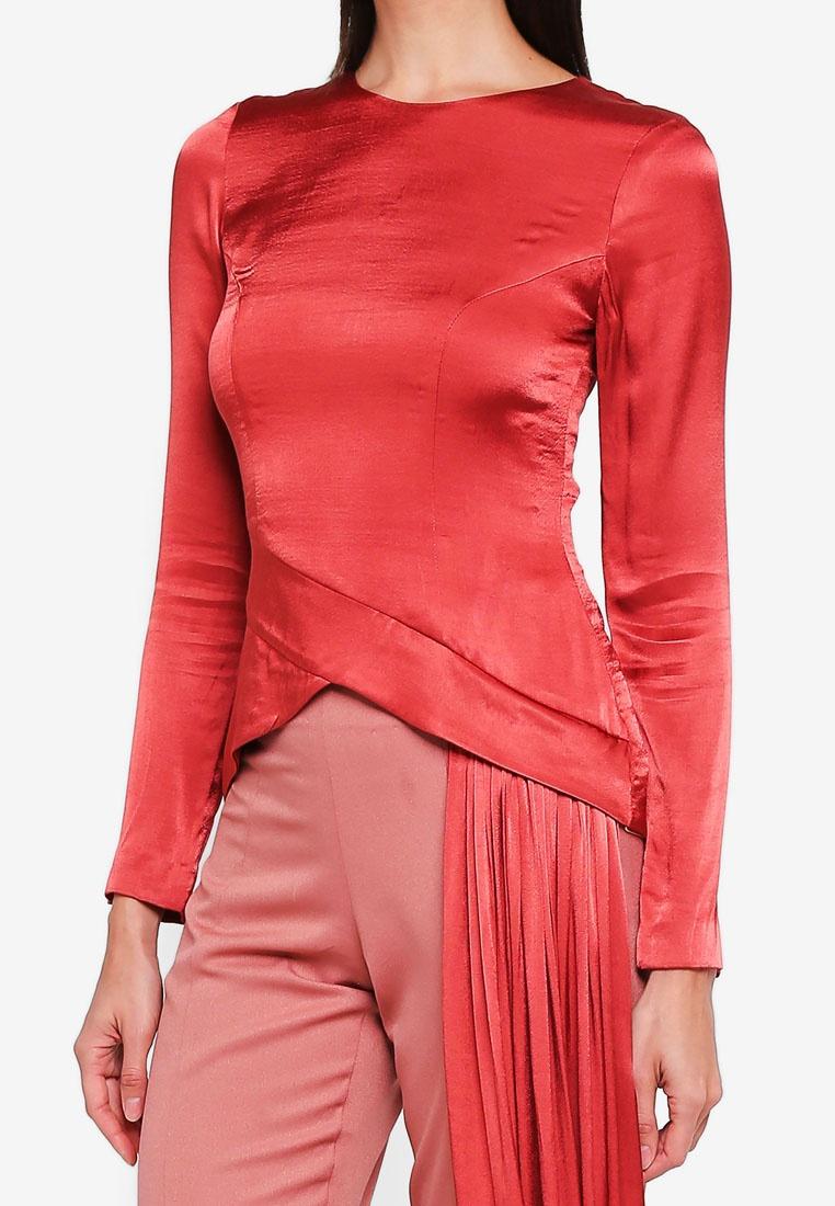 3thelabel Draped Pink Salmon Kourtney Top Handkerchief x4w7xPBq1