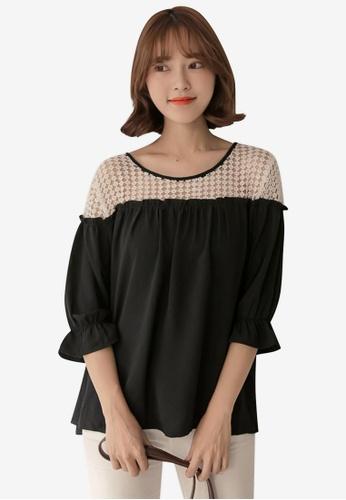 Tokichoi black Lace Shoulder Blouse 276F3AA77B0A57GS_1