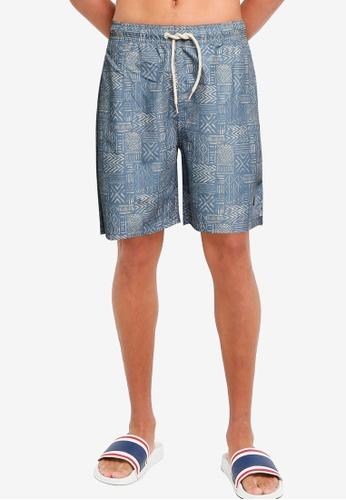 !Solid blue Basic Swim Shorts 85E12US9BA696FGS_1