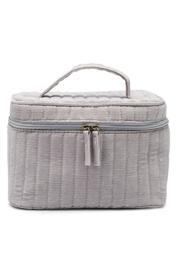 Rubi grey Large Structured Cosmetic Case 22102AC44C5C32GS_1